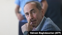 Armenian ex-President Robert Kocharian attends a court hearing in Yerevan on May 13.