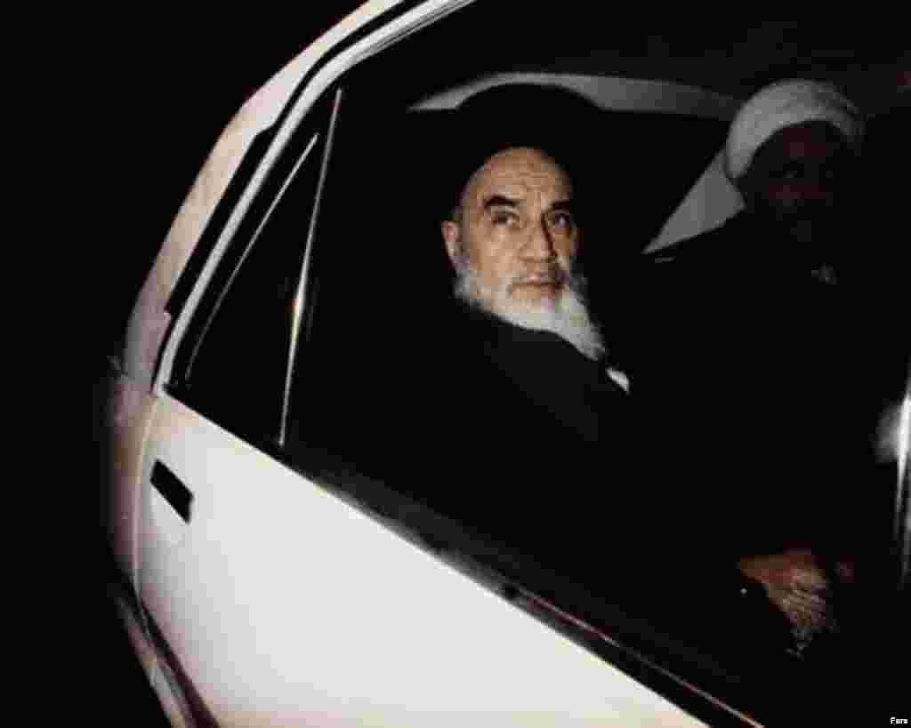 Ayatollah Ruhollah Khomeini shortly before leaving Paris on February 1, 1979