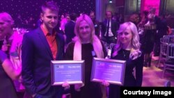 London--RFE/RL submissions were honored at the 2015 AIB awards with four shortlisted pieces and two special commendations. Left to right: Maksym Savchuk, Daisy Sindelar, Natalie Sedletska. November 4, 2015.