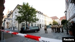 Police near the area of an explosion in the German city of Ansbach on July 25