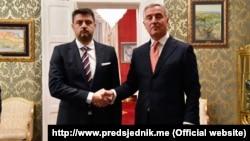 Serbian Ambassador to Montenegro Vladimir Bozovic (left) with Montenegrin President Milo Djukanovic in January this year.