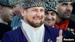 Chechen leader Ramzan Kadyrov, dressed for a ceremony in the national costume on April 25.