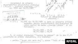 """O notă a unității speciale """"r"""" din ministerul de interne datată 4 martie 1987."""