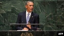 Президент США Барак Обама выступает на сессии Генеральной Ассамблеи ООН. Нью-Йорк, 24 сентября 2014 года.