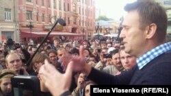 Аляксей Навальны выступае на мітынгу ў Маскве