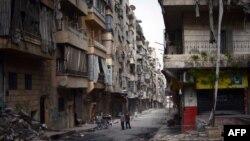 Սիրիա - Հայաշատ Հալեպի փողոցներից մեկը, ապրիլ, 2013թ.
