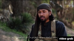 A screen grab from an Islamic State propaganda video featuring a militant called Abu Khaled al-Cambodi, who has been identified as 23-year-old Australian citizen Neil Prakash