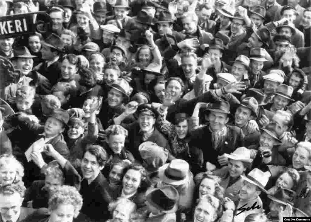 Crowds gather in Trondheim, Norway, to celebrate on May 8. Norway endured five years of Nazi occupation.