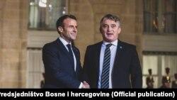 Predsjedavajući Predsjedništva BiH Željko Komšić sa predsjednikom Francuske Emmanuelom Macronom
