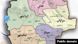 نقشه بخشی از استان سیستان و بلوچستان