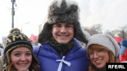 Vitaly, a banking consultant, attended the rally with friends.