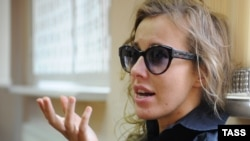 Ksenia Sobchak appears in a Moscow court on May 18.