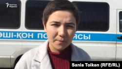 Атырау мұнай және газ университетінде оқитын қытайлық студент Шұғыла Бауыржан. Атырау, 28 наурыз 2017 жыл. (Видеодан алынған скриншот)