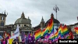 Демонстрация ЛГБТ-активистов в Риме. 5 марта 2016 года.