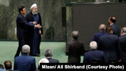 Iranian President Hassan Rouhani appeared before parliament on Aug. 28 to answer questions on his government's handling of Iran's economic struggles.