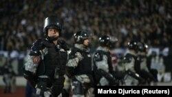 Prani e shtuar e policisë para fillimit të ndeshjes Partizani - Skënderbeu mbrëmë në Beograd