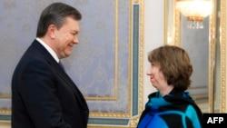 Viktor Yanukovych və Catherine Ashton