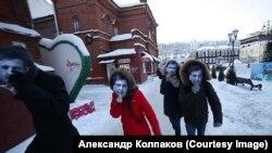Перформанс провели в ответ на высказывания Путина о «десятках Саакашвили, которые бегают площадями»