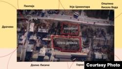 Мала и голема депонија со линдан на фабриката ОХИС во Скопје. Извор МЕД.