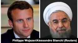 حسن روحانی (راست) در تماس تلفنی با امانوئل مکرون از مواضع کشورهای اروپایی برای حفظ برجام استقبال کرده است.