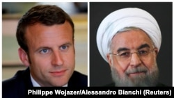 FRANCE/ITALY -- FILE PHOTO: A combination of file photos showing French President Emmanuel Macron attending a meeting at the Elysee Palace in Paris, France, May 23, 2017, and Iran President Hassan Rouhani looking on at the Campidoglio palace in Rome, Ital