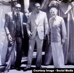 Radu Aldulescu, Alberto Lysy, Yehudi Menuhin, 1988 (Foto: J. Lloret)