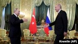 Președintele Vladimir Putin la întîlnirea cu omologul său turc Recep Tayyip Erdogan la Kremlin, 8 aprilie 2019
