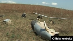 Wreckage of what Karabakh-Armenian forces say was an Azerbaijani drone shot down on September 12.