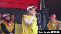 Anica Prašnjak na jednom od prosvjeda