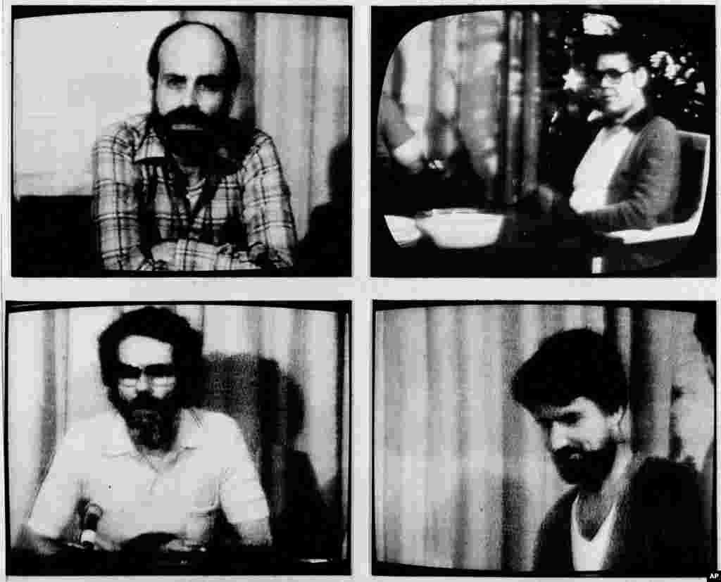 Після другого Різдва в неволі заручникам дозволили надіслати звістки рідним. Їхні заяви були показані по американському телебаченню 27 грудня 1980 року. За годинниковою стрілкою: Баррі Розен із Брукліна, Верт Муур із Вернона, Вільям Ройер із Х'юстона, Джон Рестон із Вірджинії