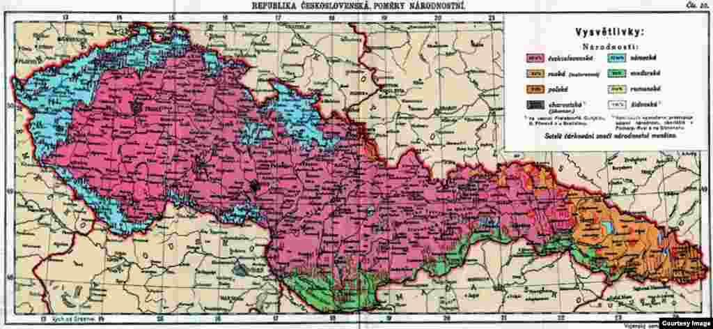 A map of the Czechoslovak Republic (1918-1945) showing the distribution of nationalities in 1931. (German areas are in blue, Hungarian in green.) More than 3 million ethnic Germans lived in the Czech side of Czechoslovakia