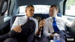 U.S. President Barack Obama and his Russian counterpart, Dmitry Medvedev, confer during Medvedev's trip to Washington on June 24.