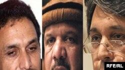 از راست به چپ: محمود کرزی، محمد قسیم فهیم و احمد ضیا مسعود