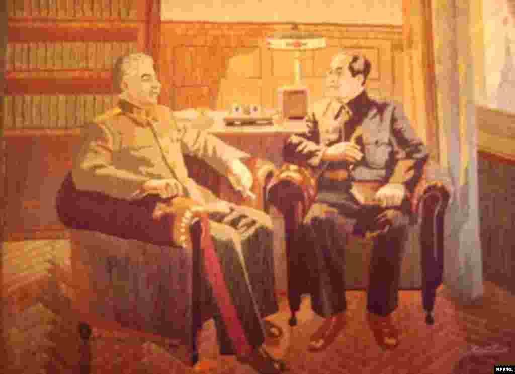 Stalin's Birthplace - A painting hanging in the museum shows Stalin with Mao Tse-tung.