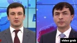 Сослан Бестаев и Бадри Газзати во время дебатов на Иристон ТВ