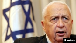 Israeli Prime Minister Ariel Sharon attends a meeting in Jerusalem in February 2005. He suffered a massive stroke in January 2006.