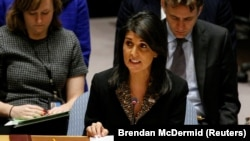 U.S. Ambassador to the United Nations Nikki Haley speaks during the United Nations Security Council meeting on the situation in the Middle East, including Palestine, at the U.N. December 18, 2017