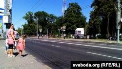 Перакрытая вуліца ў цэнтр Гомля падчас візыту Лукашэнкі