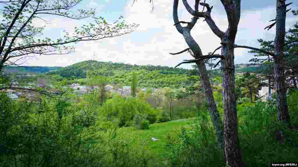Вид із території садиби на забудовану долину річки Салгир