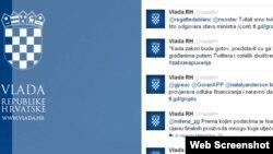 Twitter stranica Vlade Hrvatske