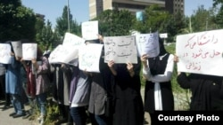 ---Iranian students protest to the verdicts against them over the last year protests in Iran, June 17, 2018.