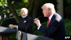 Indian Prime Minister Narendra Modi (left) and U.S. President Donald Trump, seen here during a 2017 meeting in Washington.