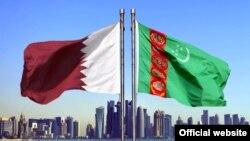 Государственные флаги Туркменистана и Катара