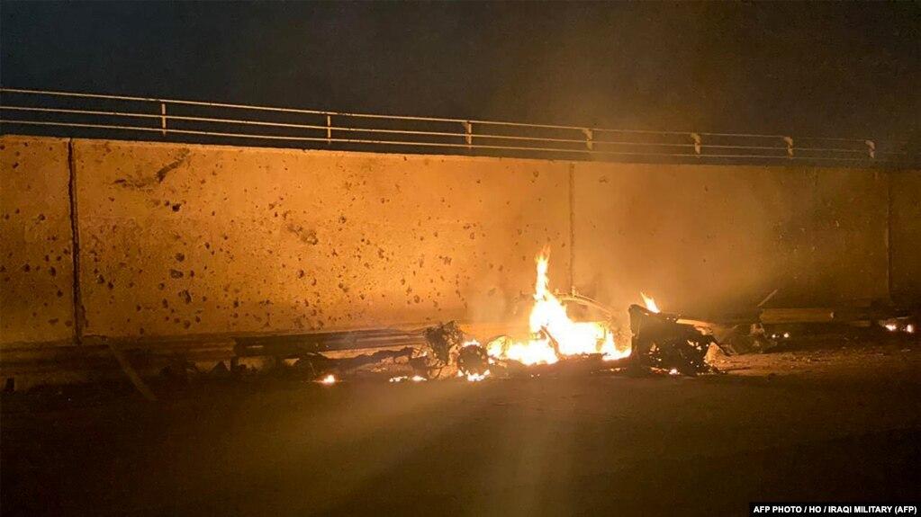 خودروی حامل قاسم سلیمانی در محدوده فرودگاه بغداد