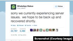 WhatsApp nosozlikka uchragani haqida bildirdi