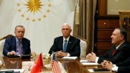 Vicepreședintele SUA, Mike Pence, împreună cju secretarul de stat american, Mike Pompeo, s-au întâlnit la Ankara cu Recep Tayyip Erdogan