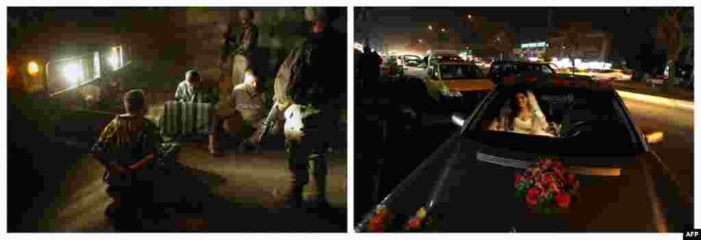 Сулда: 2003 елның 20 мартында АКШ хәрбиләре президент Сәддам Хөсәиннең берничә якын кешесен өйләренә килеп кулга ала. Уңда: 2013 елның 7 февралендә туй өчен бизәлгән машинада килен утыра.