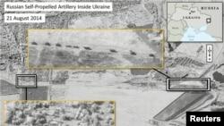 Супутникове фото російської самохідної артилерії в Україні, 28 серпня 2014 року