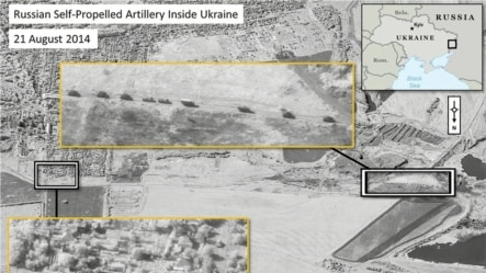 Rusiyanın özüyeriyən uzaqvuran topları Ukrayna ərazisində (Digital Globe-un çəkib NATO-nun yaydığı peyk fotoları)