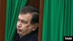 Uzbekistan's acting president, Shavkat Mirziyaev at a polling station in Tashkent on December 4.